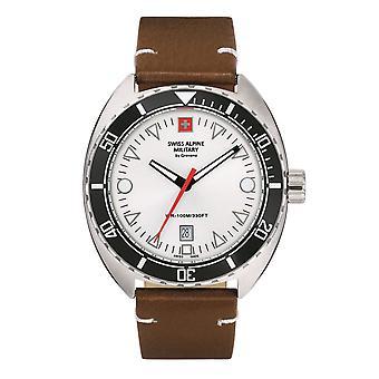 Zwitserse Alpine Military Men's Watch Analog Quartz 7066.1532SAM Leder