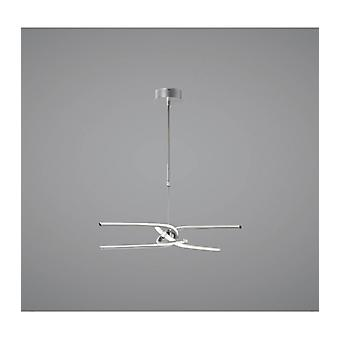 Ceiling Light Knot Telescopic \ Semi 45w Led Curved Arms 3000k, 3150lm, Dimmable, Silver / Frosted Acrylic / Polished Chrome