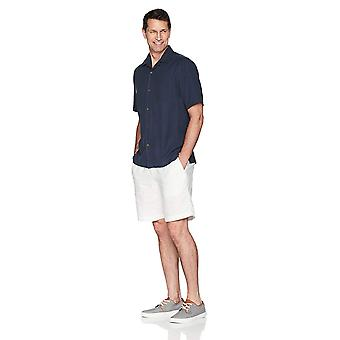 28 Palms Men's Relaxed-Fit 100% Silk Camp Shirt, Blue Night, Large