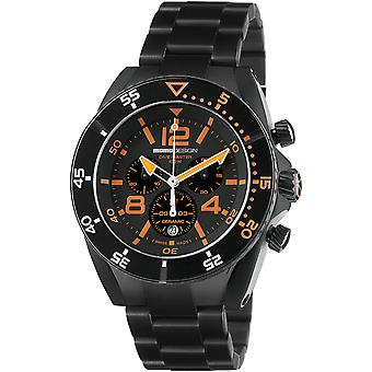 MOMO Design Dive Master Watch MD1281BK-10 - Plated Stainless Steel Gents Quartz Chronograph