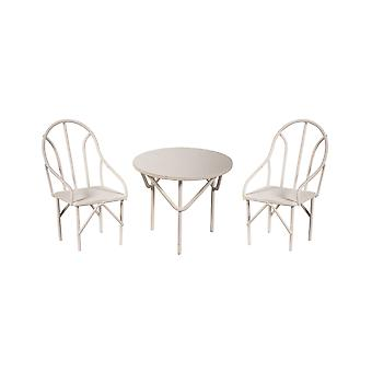 Miniaturowy zestaw do jadalni 1:16 Skala 5,7 cm White Metal Outdoor Table & Chairs Dining Set for Fairy Gardens