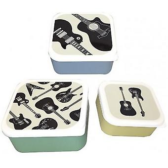 Headstock Guitar Lunch Boxes (Set of 3)