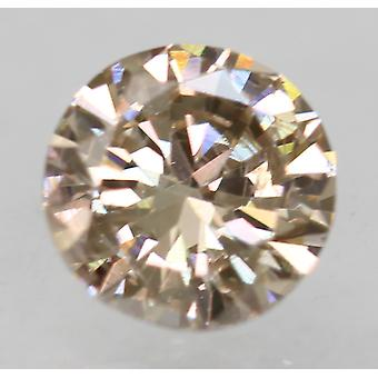 Cert 0.50 Carat Light Brown VVS2 Round Brilliant Enhanced Natural Diamond 5.01mm