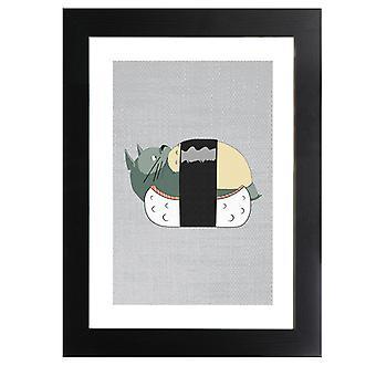 Totoro Sushi Studio Ghibli gerahmt Druck