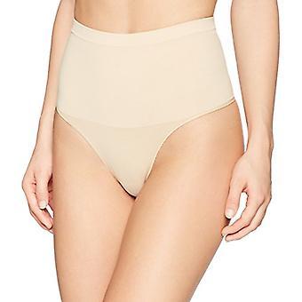 Brand - Arabella Women's Matte and Sheer Seamless Shapewear Bikini, Sand, Large