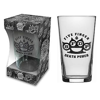 Five Finger Death Punch Beer Glass Knuckle Band Logo new Official  Boxed