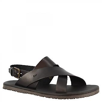 Men's handmade sandals with crossed bands in black calf leather with buckle