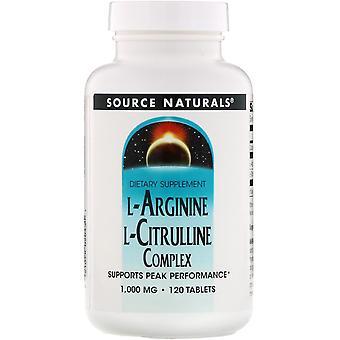 Source Naturals, Complexe L-Arginine L-Citrulline, 1 000 mg, 120 comprimés