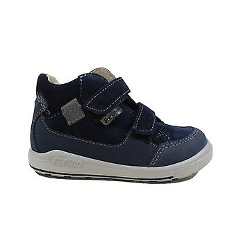 Ricosta Zach 2422600-172 Blue Nubuck/Suede Leather Boys Rip Tape Ankle Boots