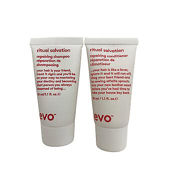 evo Ritual Salvation Herstellen shampoo & conditioner set 1.1 OZ elk