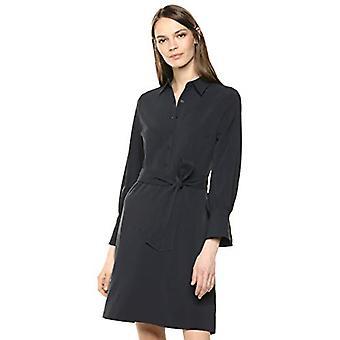 Brand - Lærke & Ro Kvinder's Langærmet Tie Waist Stretch Vævet Skjorte Kjole, Dark Navy 8