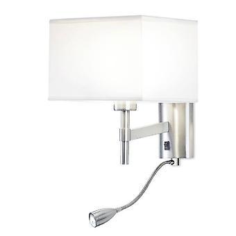 LED 2 Ljus Inomhus vägg ljus Satin Nickel med Läslampa, E27