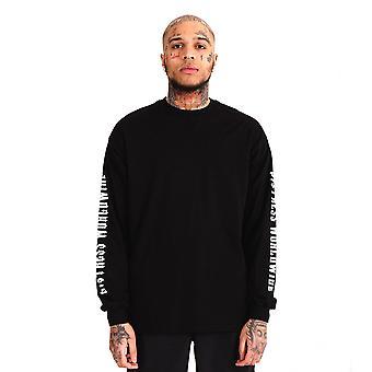 Distress 'Who's World' Long Sleeve T-Shirt Black