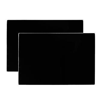 Glass Placemats Set | 30 x 20cm - Black | Non Slip Tempered Dining Table Mats