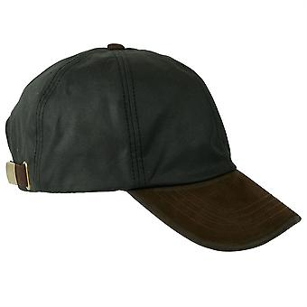 ZH009 (BLACK ONE SIZE ) Hamilton Wax Leather Peak Baseball Cap