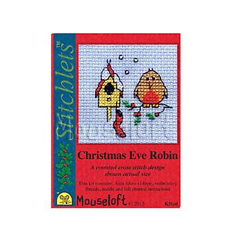 Christmas Eve Robin - Stitchlets Small Counted Cross Stitch Card Making Kit