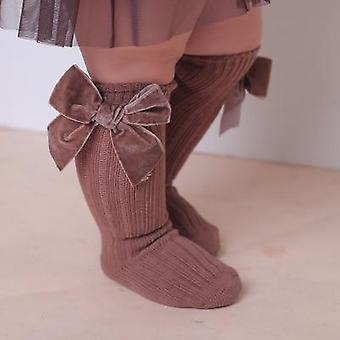 Imcute Baby Girl Knee High Socks- Winter Warm Rib Knitted Stockings With Big Velvet Bow For Infants Toddlers