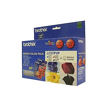 Brother Lc37Pvp Photo Value Pack Including Photo Paper