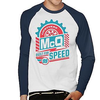 Pixar Cars Lightning McQueen Pneumatici Costruiti per Speed Men's Baseball Long Sleeved T-Shirt