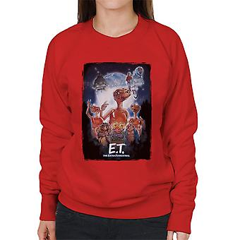 E.T. The Extra Terrestrial Cinematic Poster Montage Women's Sweatshirt