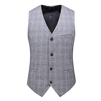 YANGFAN Men's Tarkista 4 painiketta Slim Fit Suit Vest V Kaulus Rento Liivi