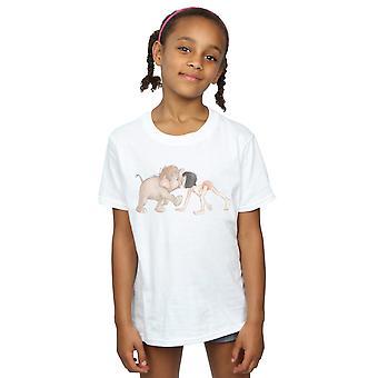 ディズニーガールズジャングルブック水彩ハティジュニアとモーグリTシャツ