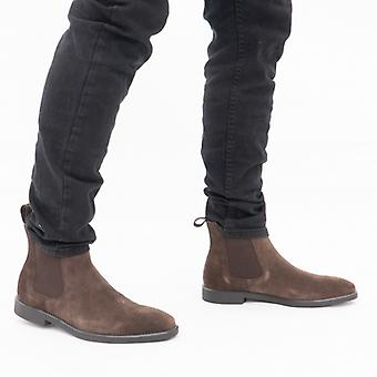 Steptronic Mayfair Mens Suede Wide Fit Chelsea Boots Brown