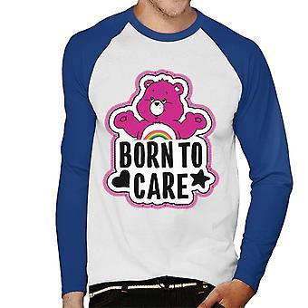 Care Bears Cheer Bear Born To Care Men's Baseball Long Sleeved T-Shirt