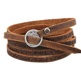 Punk Leather Ancient Wristband Simple Word Love Multilayer Bracelet for Men