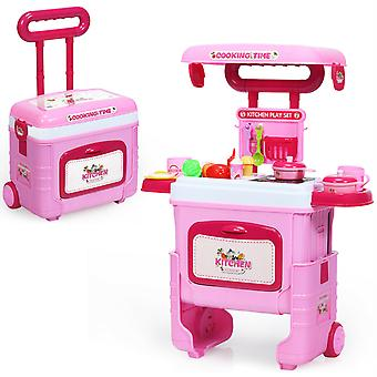2-In-1 Kids Kitchen Play Set Portable Chef Role Pretend Play Carrycase