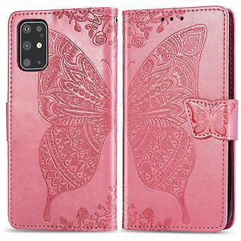 ل Galaxy S20+ الفراشة حب زهرة منقوش أفقي الوجه الجلود حالة مع قوس / فتحة بطاقة / محفظة / Lanyard(الوردي)