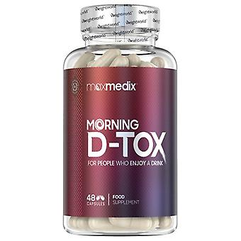 Morning D-Tox - Natural After Drink Supplement With Vitamins & Minerals for Hangover Detox After Alcohol Consumption - Vegan Friendly - 48 Capsules