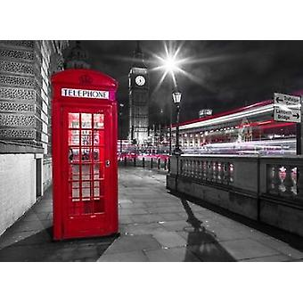 Telephone box with Big Ben London Uk Poster Print by  Assaf Frank
