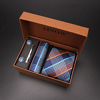 Jacquard Necktie And Pocket Square Clip Cufflinks Red Black Blue Handkerchief