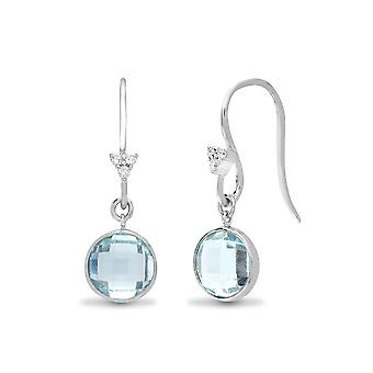 Jewelco London 18ct White Gold Rub Over Set H I1 0.05ct Diamond and Blue 3.3ct Topaz Bubbly Tears of Joy Drop Earrings