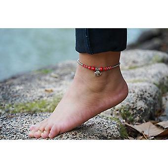 Rote Perlen, Elefant Anhänger-Boho Silber Fußkettchen