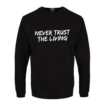 Grindstore Mens Never Trust The Living Collegeshirt