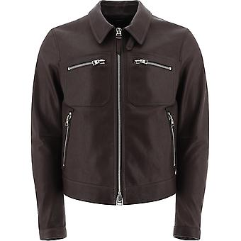 Tom Ford Bw410tfl855m08 Men's Brown Leather Outerwear Jacket