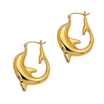 14K Yellow Gold glanzende Dolphin hoepel oorbellen, diameter 22mm