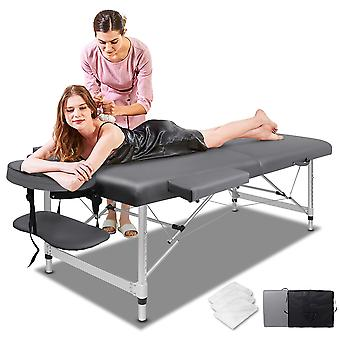ELFORDSON Portable Massage Bed Table 2 Fold 55cm Wide Adjustable Aluminium Couch Beauty SPA Treatment Waxing Bed(Grey)