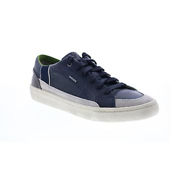 Geox U Warley  Mens Blue Leather Euro Sneakers Shoes