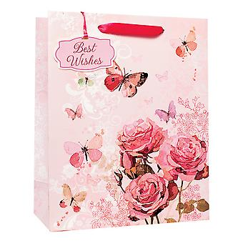 Simon Elvin Roses & Butterflies Best Wishes Gift Bags (Pack of 6)