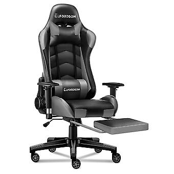 ELFORDSON Gaming Chair Office Executive Racing Seat PU Leather REGAN Grey