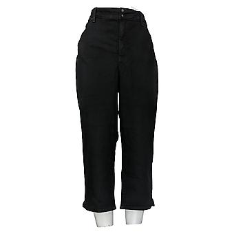 NYDJ Women's Plus Jeans Skinny Crop with Side Slits Black A377694