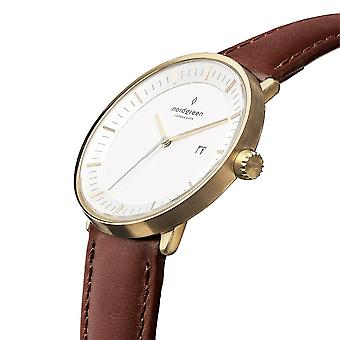 Nordgreen Unisex Philosopher Leather Gold 40mm Watch PH40GOLEDBXX