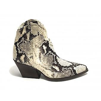 Shoes Woman Ad. Side Texan Leather Ankle Boot Python Print Sasso D20ad07