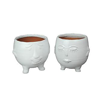 Pair of Adorable White Ceramic Mr & Mrs His and Hers Head Shaped Decorative Planters
