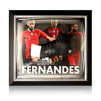 Bruno Fernandes Signed Black Football Boot Portugal Presentation. Framed