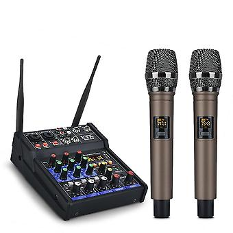 Audio Mixing With Uhf Wireless Microphone 4 Channel Stereo Mixer