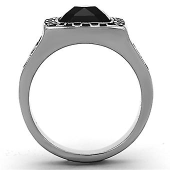 Men Stainless Steel Synthetic Glass Rings Tk1356